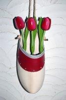 Blumenholzschuh mit Holztulpen